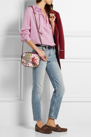 Blooms GG Supreme leather-trimmed printed coated canvas shoulder bag