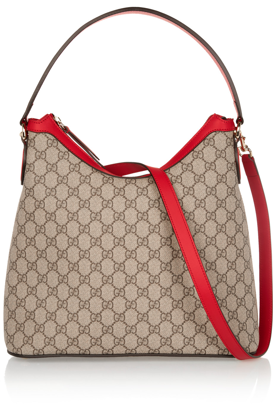 Gucci Linea A Hobo Leather-Trimmed Coated Canvas Shoulder Bag, Sand, Women's