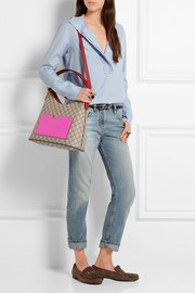 Gucci Linea A Hobo leather-trimmed coated canvas shoulder bag
