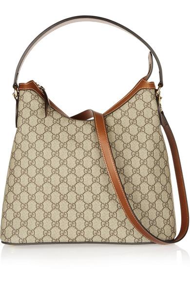 gucci female gucci linea a hobo leathertrimmed coatedcanvas shoulder bag tan