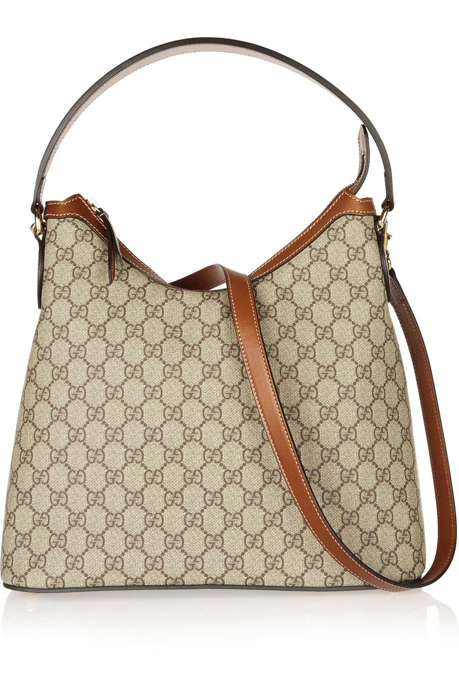 Gucci Linea A Hobo Leather-Trimmed Coated Canvas Shoulder Bag, Tan, Women's