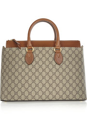 Gucci Linea A medium leather-trimmed coated-canvas tote