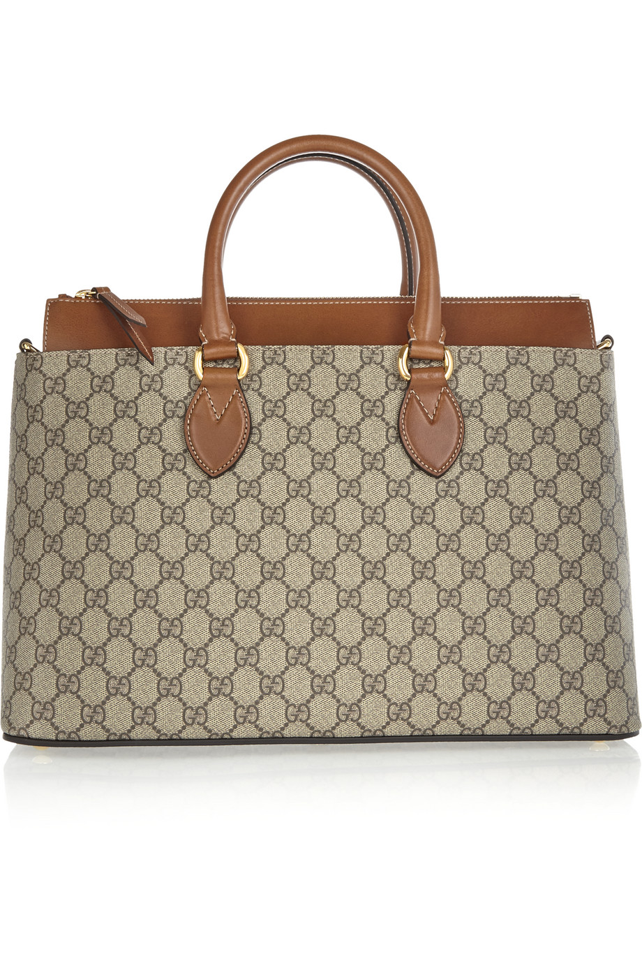 Gucci Linea A Medium Leather-Trimmed Coated Canvas Tote, Beige, Women's