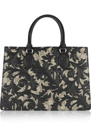 Linea A medium leather-appliquéd coated canvas tote