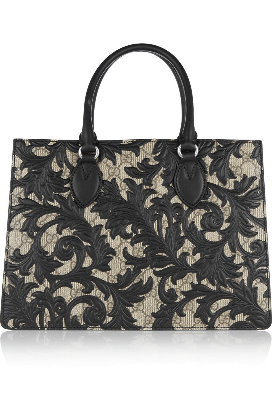 Gucci Linea A Medium Leather-Appliquéd Coated Canvas Tote, Black, Women's