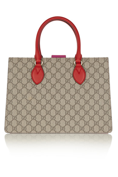 Gucci - Linea A Small Leather-trimmed Coated-canvas Tote - Beige