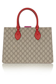 Gucci Linea A small leather-trimmed coated canvas tote
