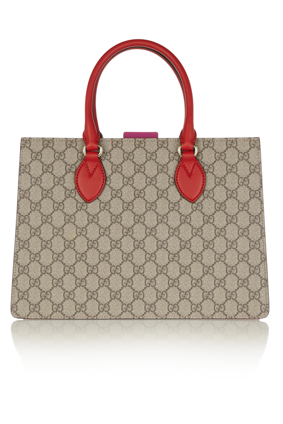 Gucci Linea A Small Leather-Trimmed Coated Canvas Tote, Beige, Women's