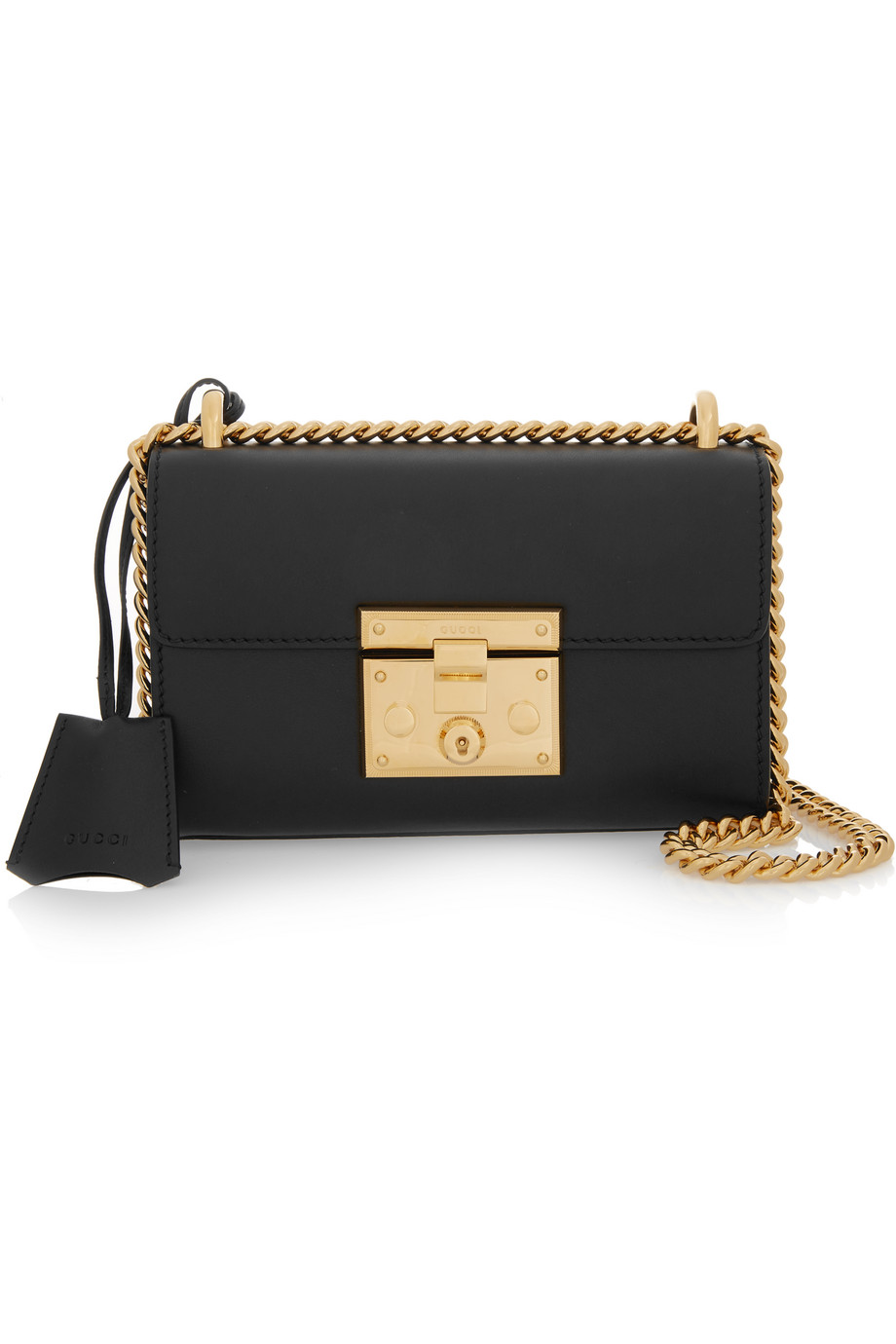 Gucci Padlock Small Leather Shoulder Bag, Black, Women's