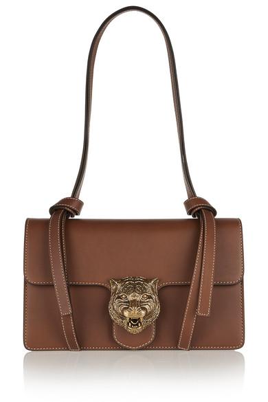 Gucci - Linea G1 Embellished Leather Shoulder Bag - Tan