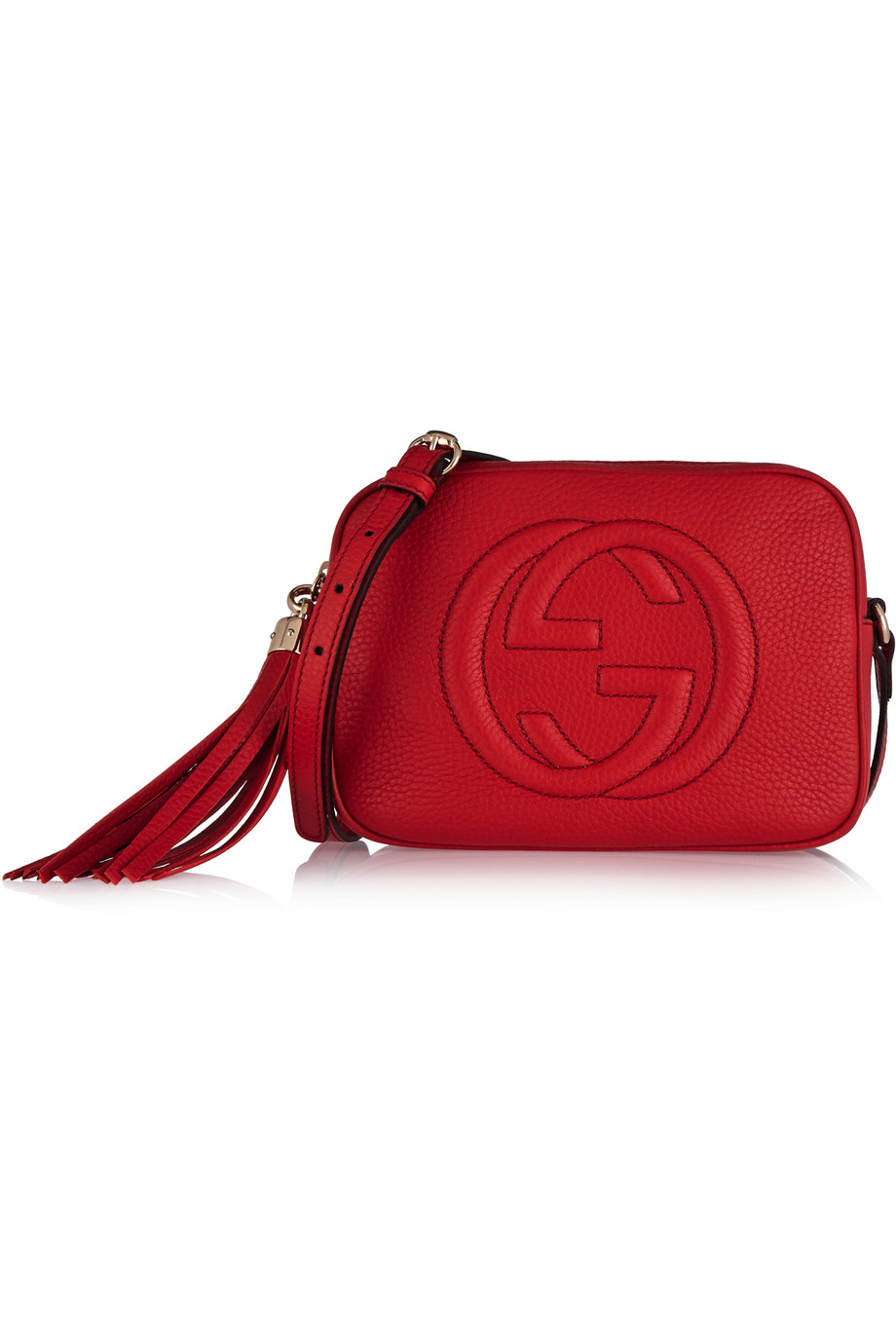 Gucci Soho Textured-Leather Shoulder Bag, Red, Women's, Size: One Size