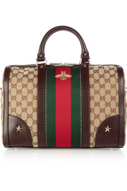 Gucci Vintage Web medium leather-trimmed coated canvas tote