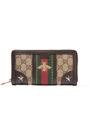 Gucci Leather-trimmed canvas wallet