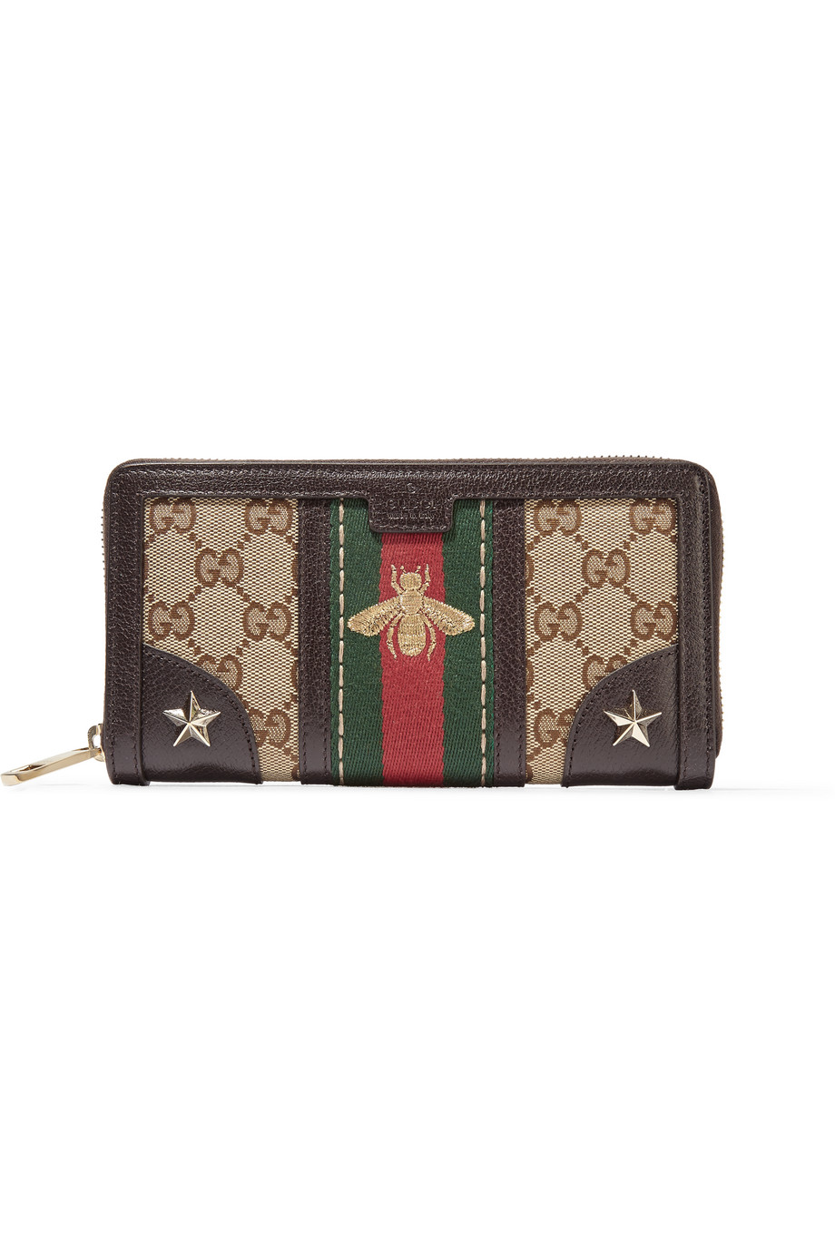 Gucci Leather-Trimmed Canvas Wallet, Beige, Women's