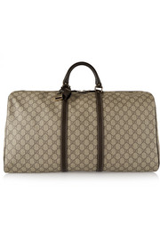 Gucci Joy large leather-trimmed coated canvas weekend bag