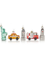 Little New York set of five glass baubles