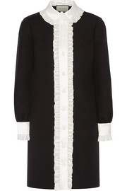 Ruffle-trimmed wool and silk-blend crepe shirt dress