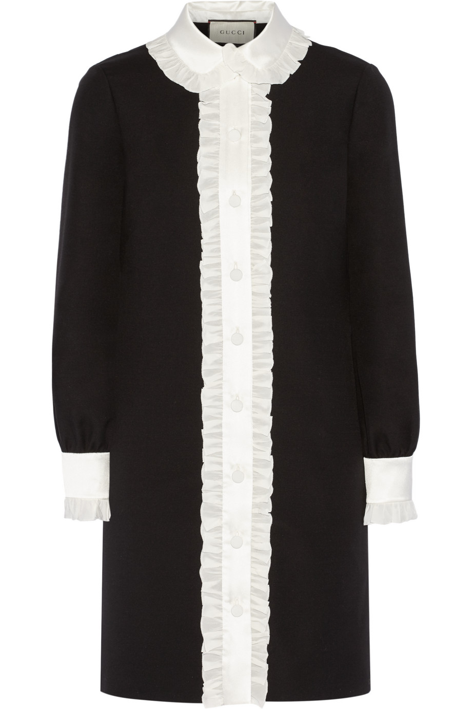 Gucci Ruffle-Trimmed Wool and Silk-Blend Crepe Shirt Dress, Black, Women's, Size: 40