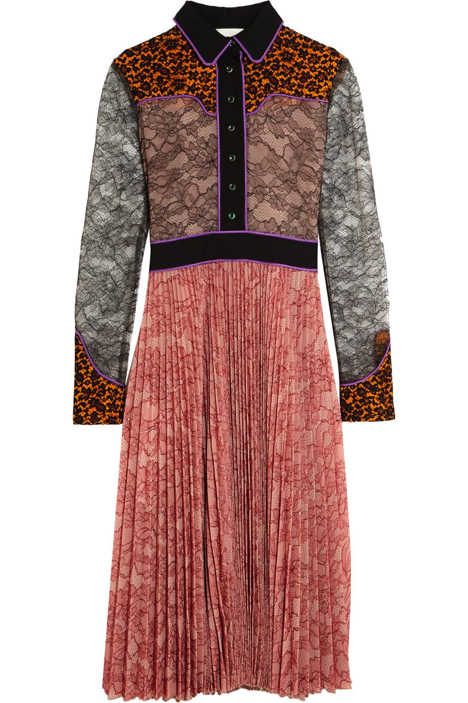 Gucci Lace and Plissé-Georgette Dress, Pink, Women's, Size: 38