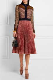 Gucci Lace and plissé-georgette dress