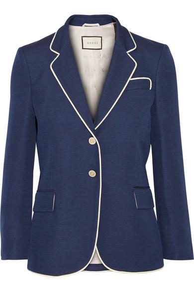 Gucci - Embellished Silk And Wool-blend Blazer - Storm blue