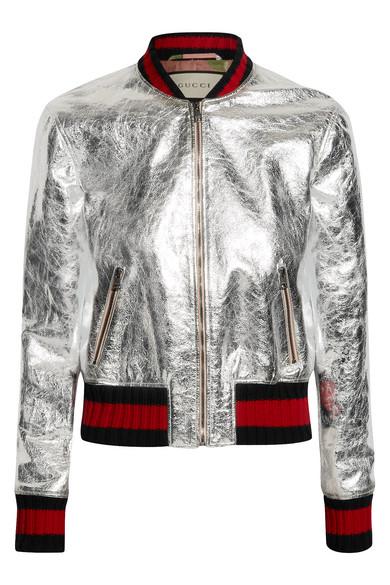 0be34bf5d Metallic leather bomber jacket