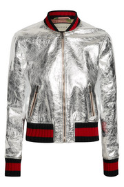 Metallic leather bomber jacket