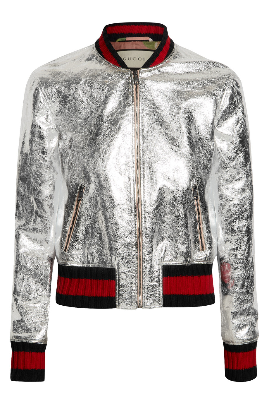 Gucci Metallic Leather Bomber Jacket, Silver, Women's, Size: 38