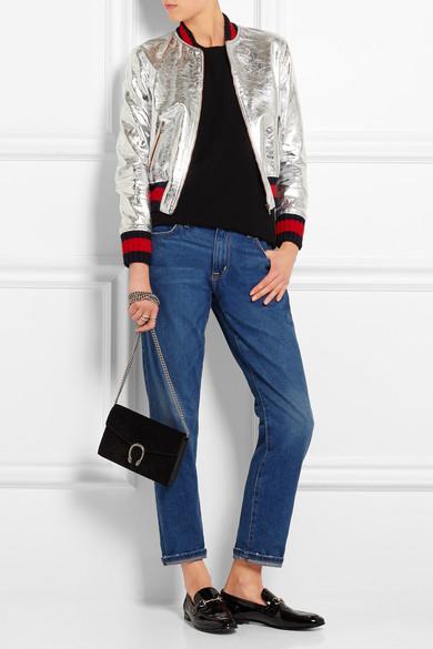 1737b0354 Metallic leather bomber jacket