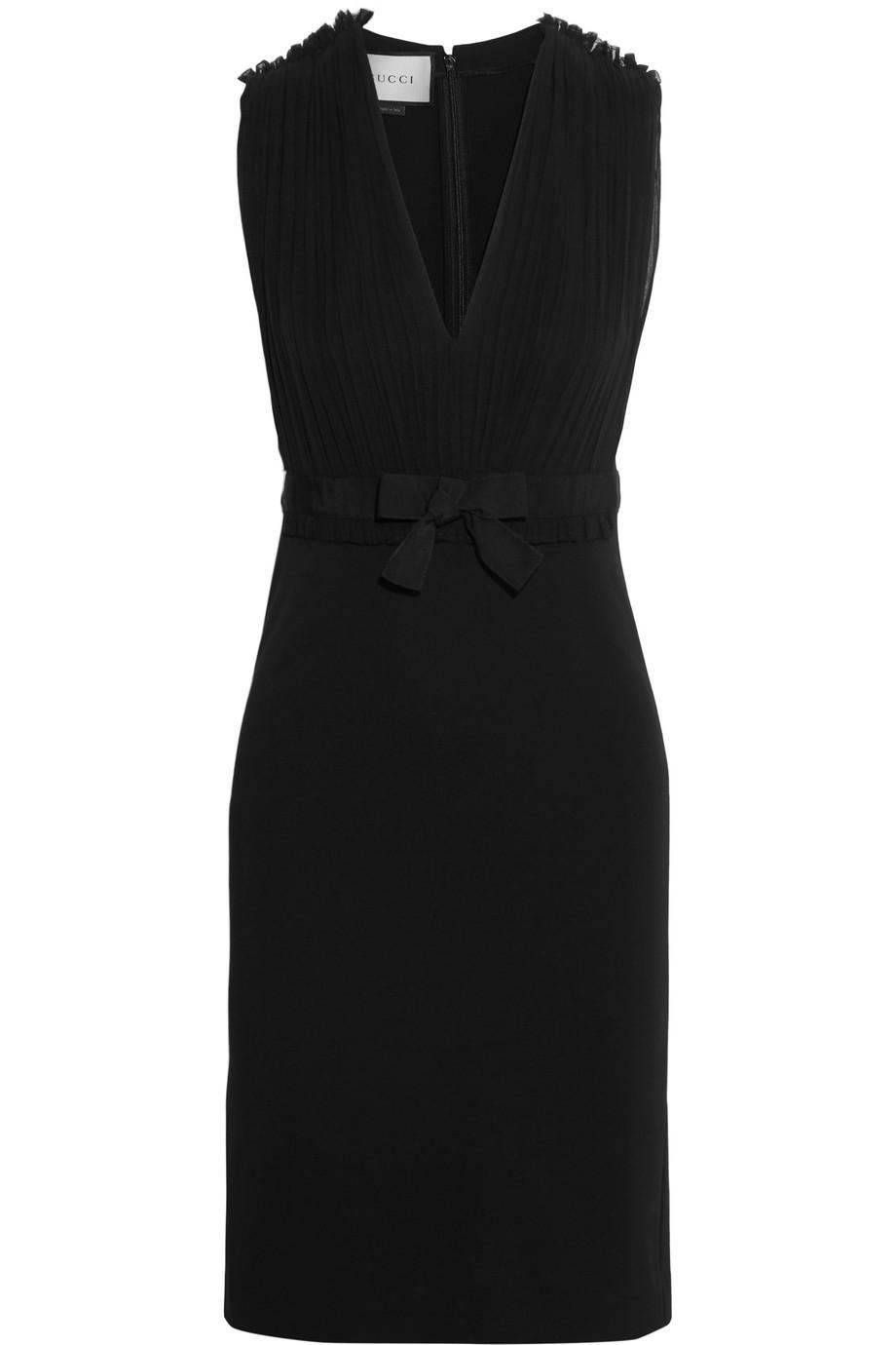 Gucci Pleated Silk-Chiffon and Stretch-Crepe Dress, Black, Women's, Size: L