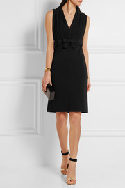 Gucci Pleated silk-chiffon and stretch-crepe dress