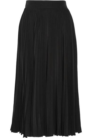 Gucci - Pleated Silk-crepe Midi Skirt - Black