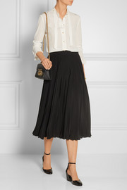 Gucci Pleated silk-crepe midi skirt