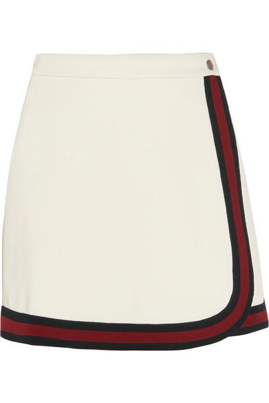 Gucci - Stripe-trimmed Jersey Mini Skirt - White