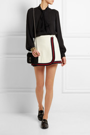 Stripe-trimmed jersey mini skirt