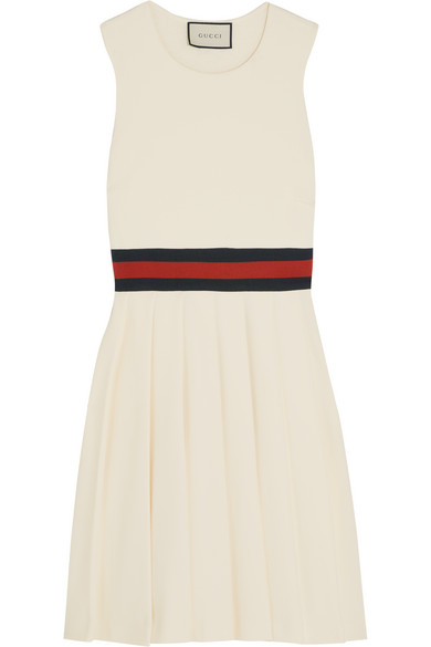 Gucci - Pleated Gabardine Mini Dress - Cream