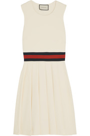 Pleated gabardine mini dress