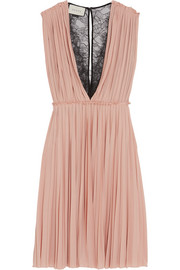 Lace-paneled pleated crepe dress