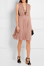 Gucci Lace-paneled pleated crepe dress