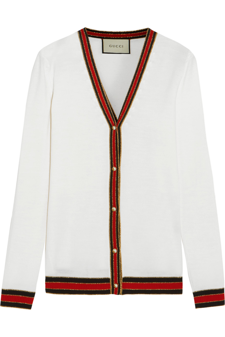 Gucci Striped Wool Cardigan, Off-White, Women's, Size: L
