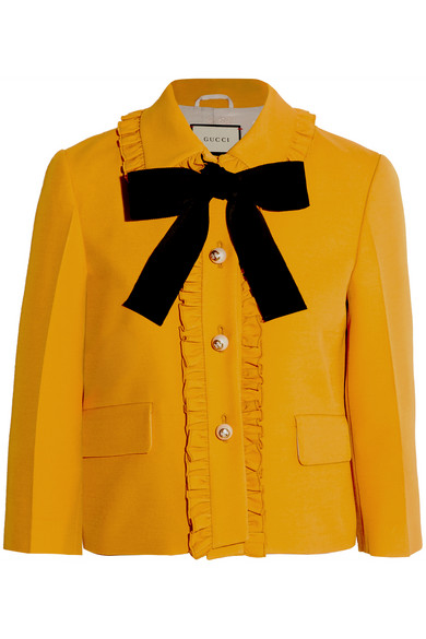 Gucci - Pussy-bow Silk And Wool-blend Crepe Jacket - Yellow
