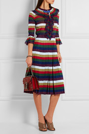 Striped pleated metallic knitted dress