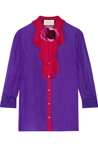 gucci female 248826 gucci twotone silkgeorgette shirt purple