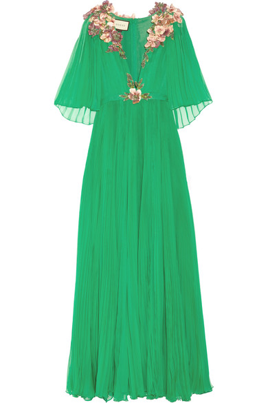 Gucci - Embellished Plissé Silk-chiffon Gown - Emerald