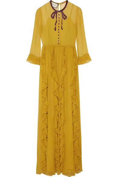 Gucci - Embellished Silk-chiffon Gown - Mustard