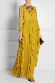 Gucci Embellished silk-chiffon gown