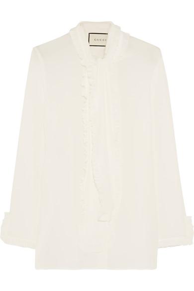Gucci - Ruffled Silk Crepe De Chine Shirt - Ivory