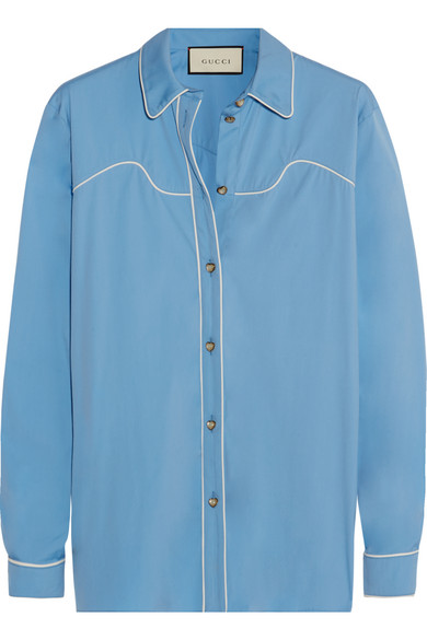 gucci female 201959 gucci silktrimmed cottonblend poplin shirt light blue