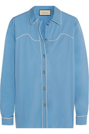 Silk-trimmed cotton-blend poplin shirt