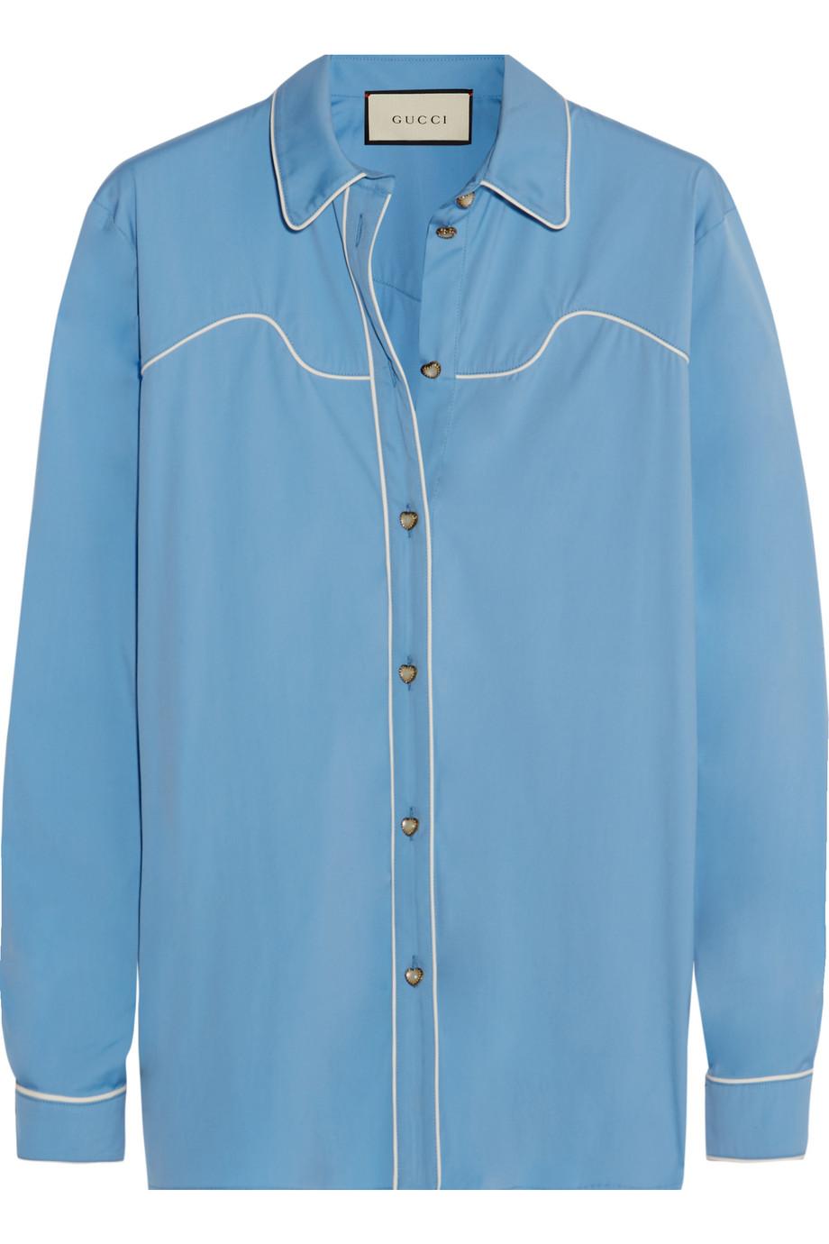 Gucci Silk-Trimmed Cotton-Blend Poplin Shirt, Light Blue, Women's, Size: 42